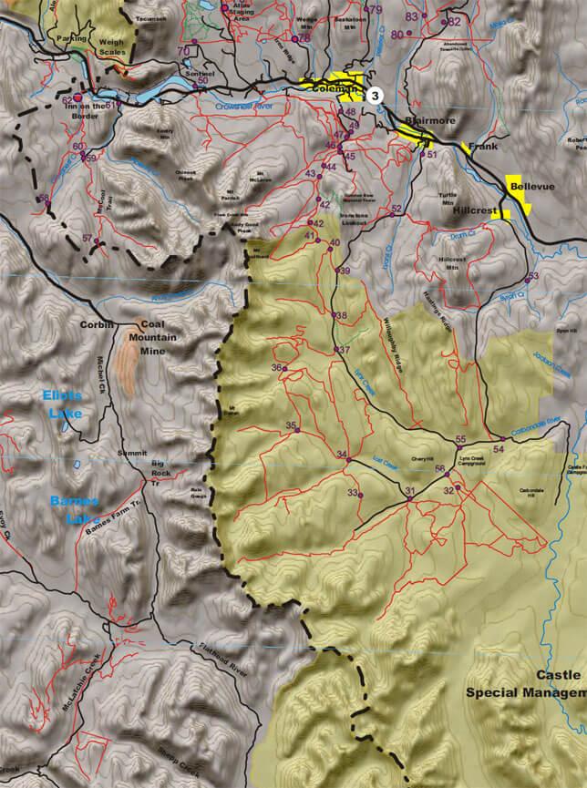 Castle Special Management ORV Area Dirt Biking Map