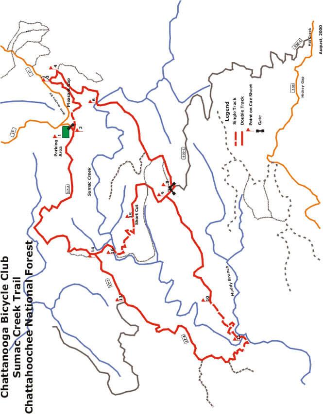 Sumac Creek Trail Mountain Biking Map