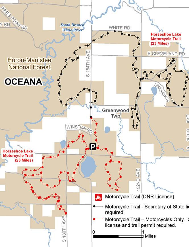 Horseshoe-Holton Motorcycle Trail Dirt Biking Map