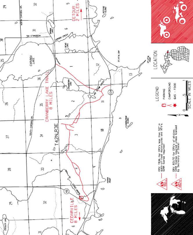 Cranberry Lake Riding Trail Dirt Biking Map