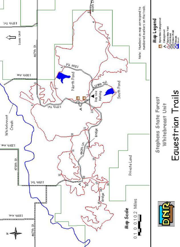 Stephens State Forest Horseback Riding Map