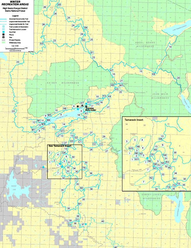Huntington Lake Trailhead Snowmobiling Map