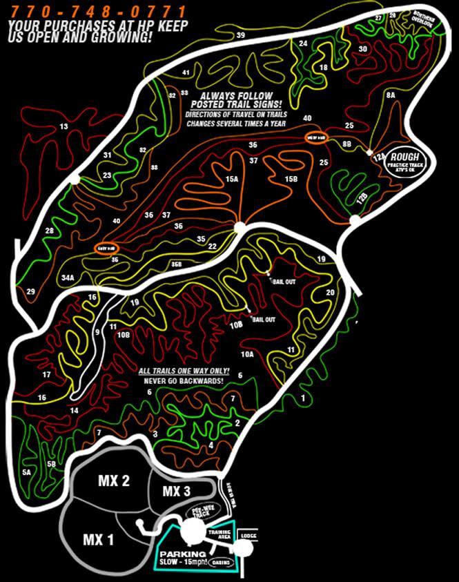 Highland Park Resort Dirt Biking Map