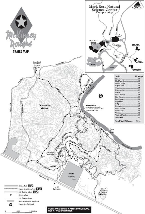 McKinney Roughs Nature Park Horseback Riding Map