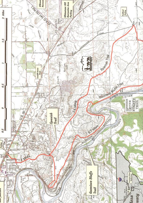 Gunnison River Bluffs Trail Mountain Biking Map