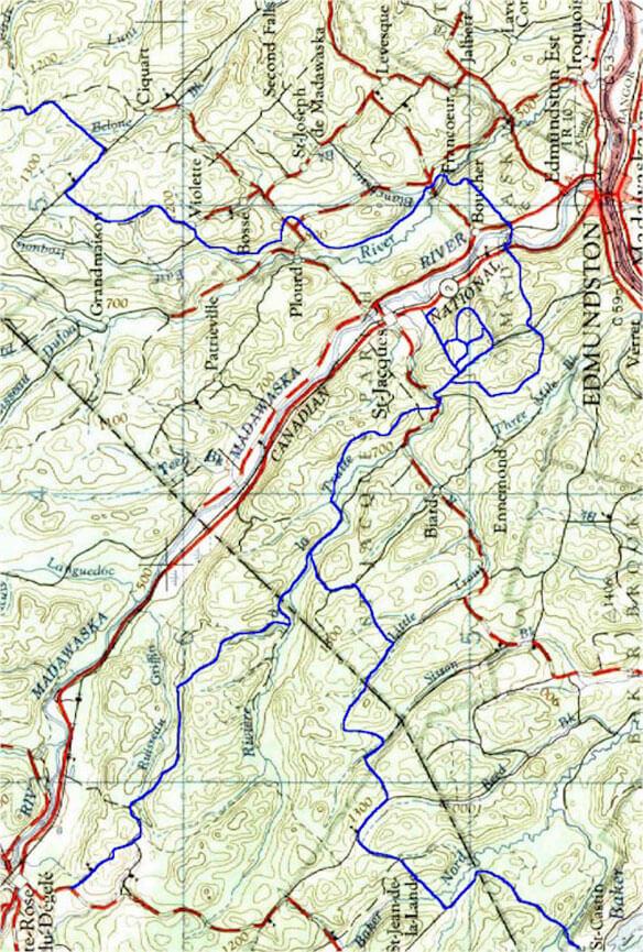 Edmundston - Degelie - St. Joseph ATV Trails Map