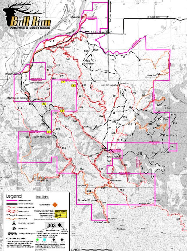 Bull Run Guest Ranch ATV Trails Map