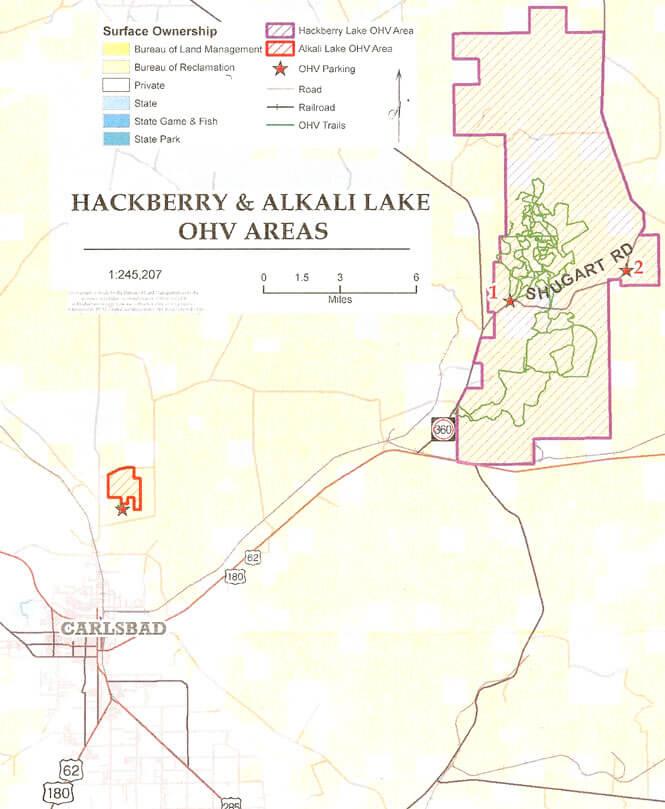 Hackberry Lake OHV Dirt Biking Map