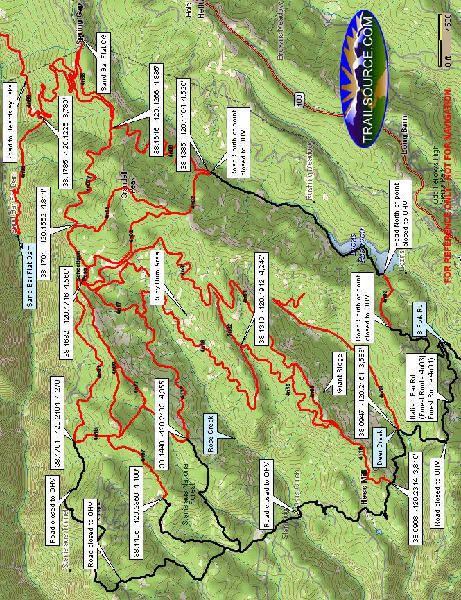 Deer Creek OHV Staging Area OHV Driving Map