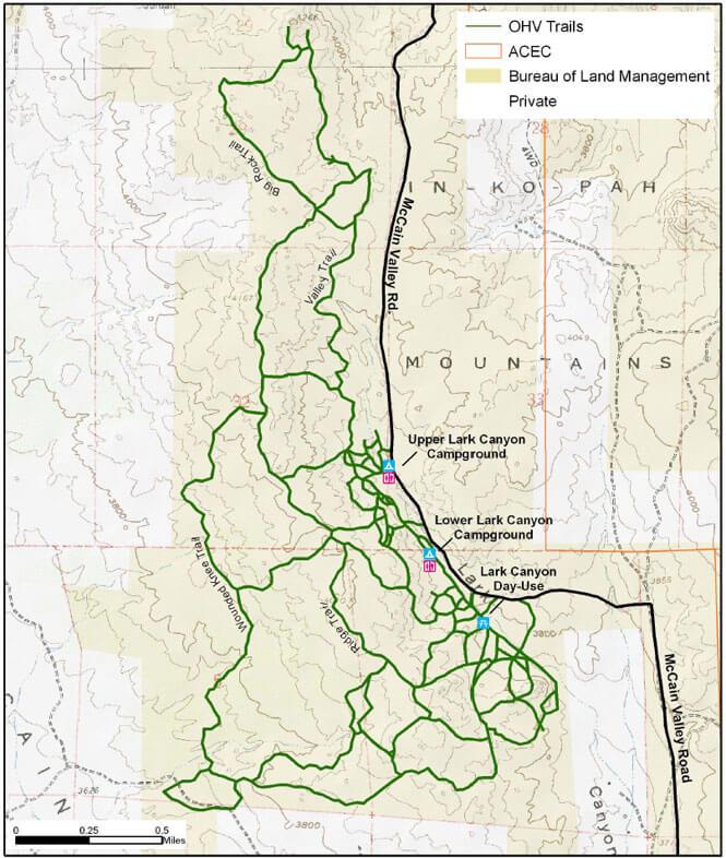 Lark Canyon OHV Area OHV Driving Map