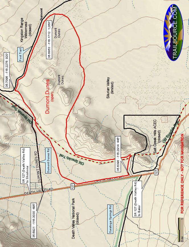 Dumont Dunes OHV Area OHV Driving Map