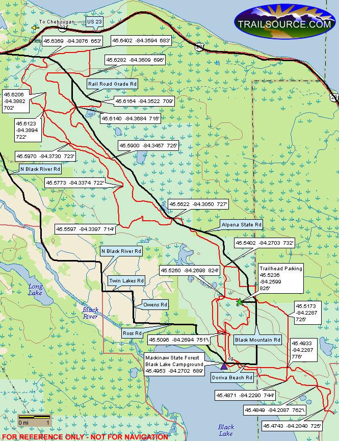 Black Lake ORV Trail OHV Driving Map