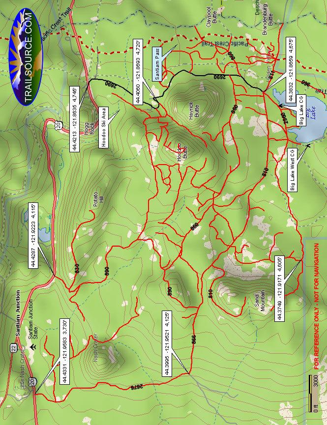 Santiam Pass OHV Area OHV Driving Map