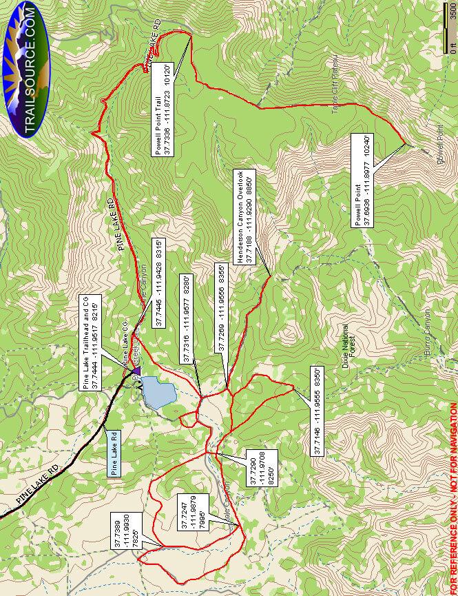 Pine Lake OHV Trail OHV Driving Map
