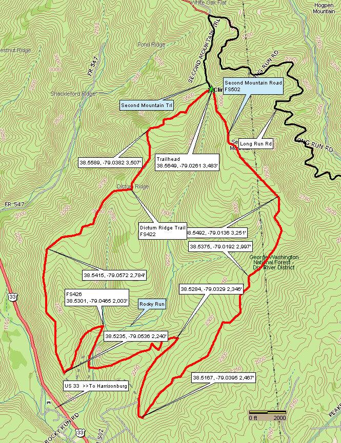 Rocky Run ORV Trail OHV Driving Map