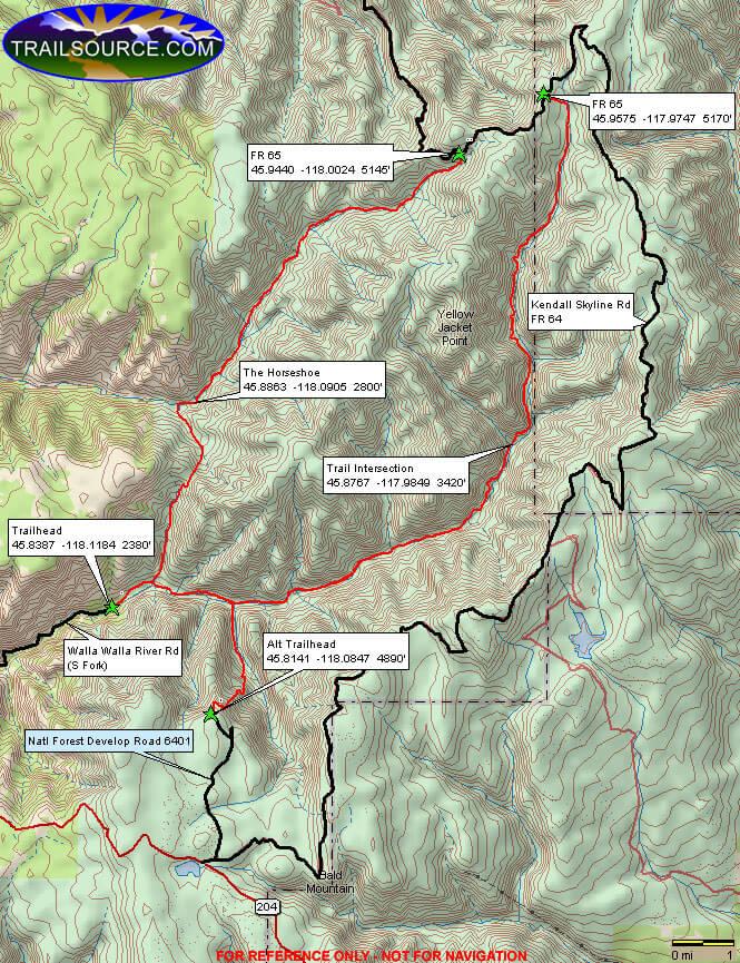 Walla Walla OHV Trail OHV Driving Map