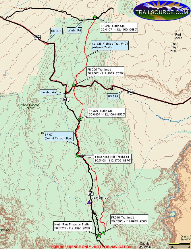 Arizona Trail - Kaibab Plateau Horse Trail Horseback Riding Map