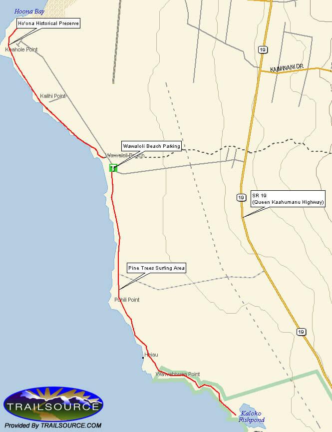 Wawaloli Beach Park - Pine Trees Mountain Biking Map
