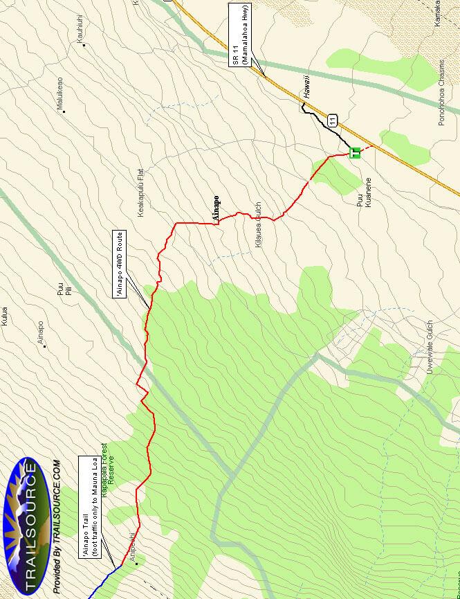 Kapapala Forest Reserve - Ainapo Trail Mountain Biking Map