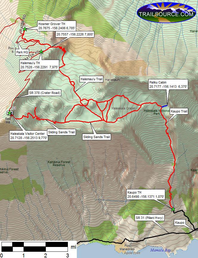 Kaupo Gap Trail Hiking Map