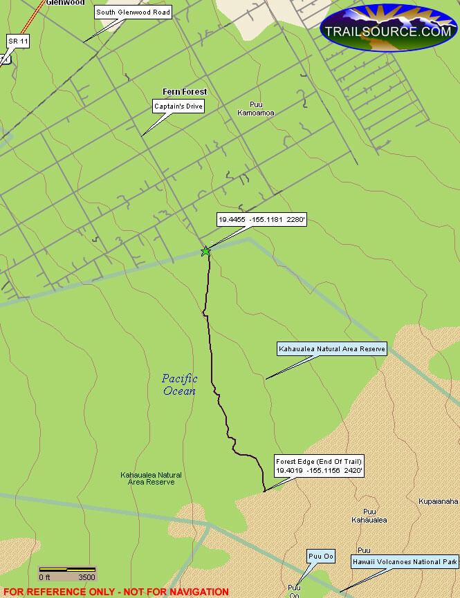 Kahaualea Trail Hiking Map