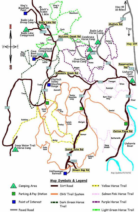 Badin Lake OHV Driving Map