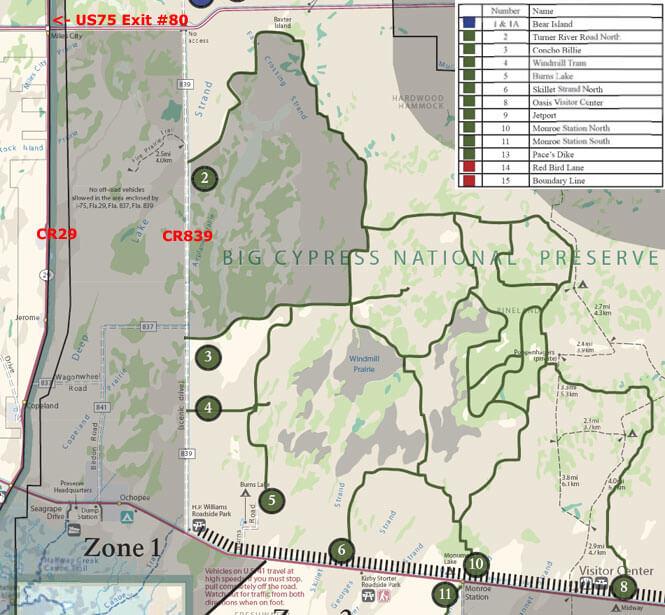 Turner River Road OHV Driving Map