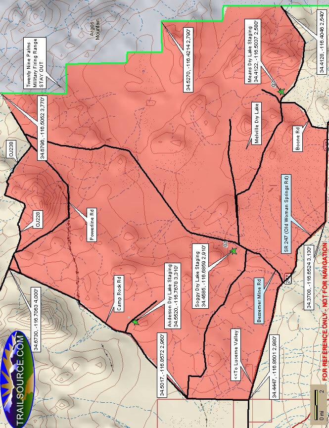 Johnson Valley ORV Area Dirt Biking Map
