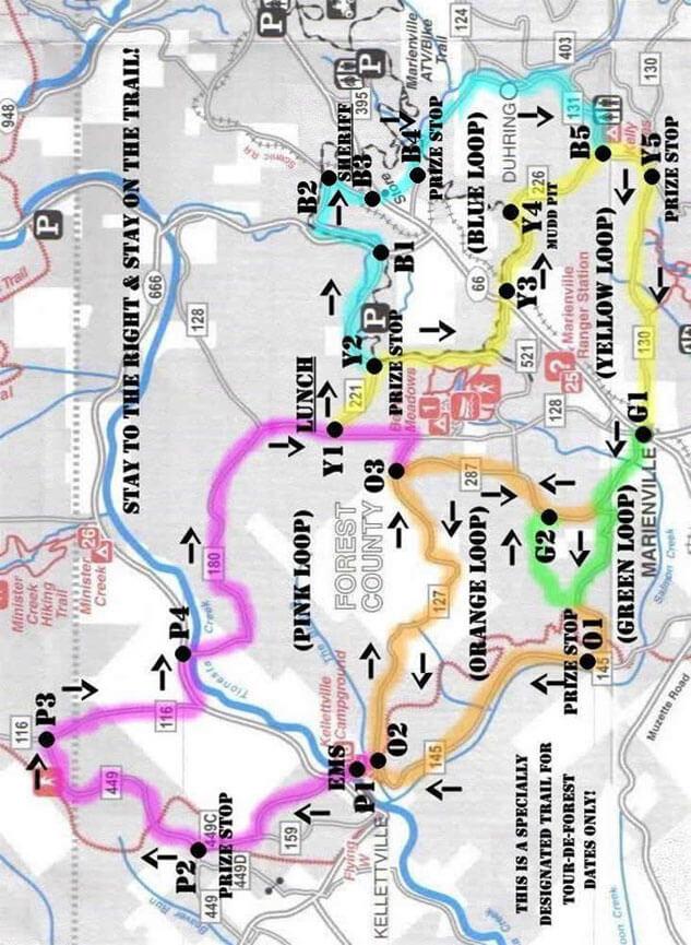 Tour De Forest ATV Trails Map