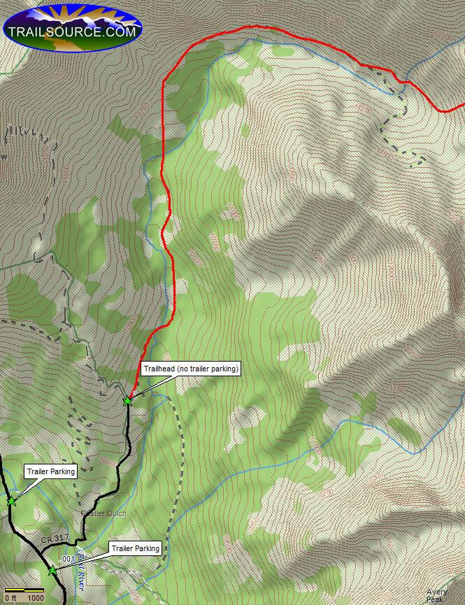 Rustler Gulch Trail Horseback Riding Map