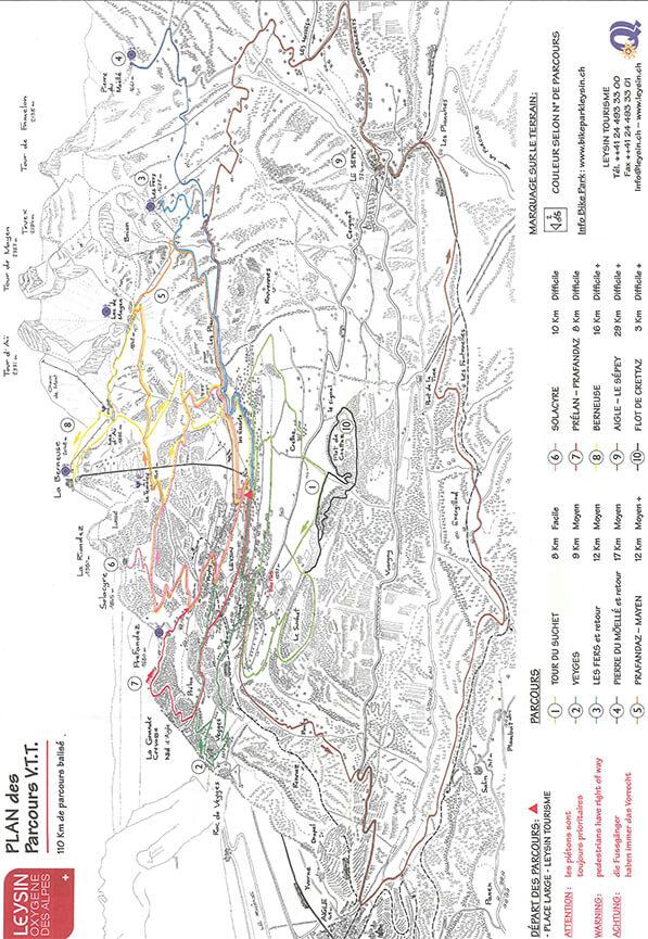 Leysin Mountain Biking Map
