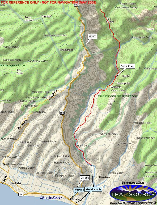 Waimea Canyon Trail Hiking Map