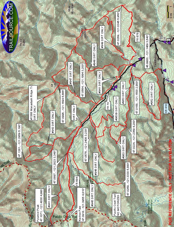 Chinook Pass Horseback Riding Map
