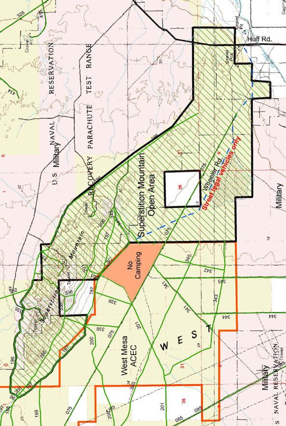 Superstition Mountain Open Area Dirt Biking Map