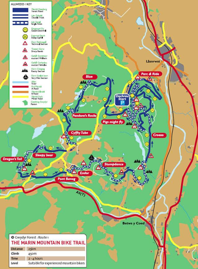 Gwydyr Forest Centre Mountain Biking Map