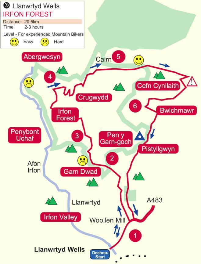Llanwrtyd Wells Mountain Biking Map
