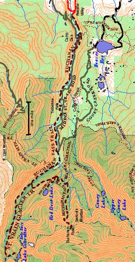 Buchanan Pass Trail Hiking Map