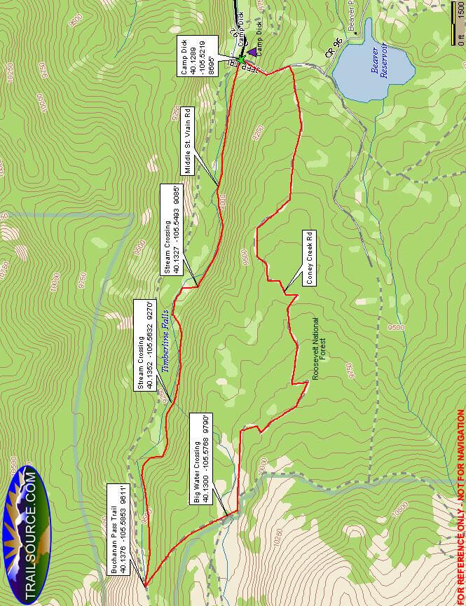 Middle Saint Vrain Road ATV Trails Map