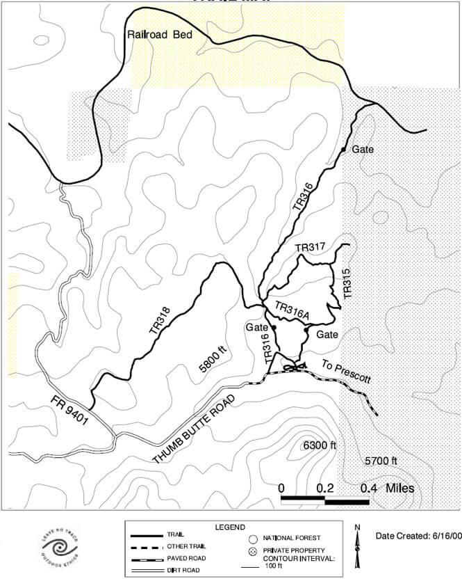 Thumb Butte Horseback Riding Map
