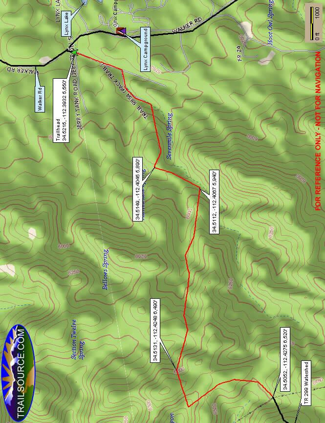 Seven Mile Gulch Trail Dirt Biking Map