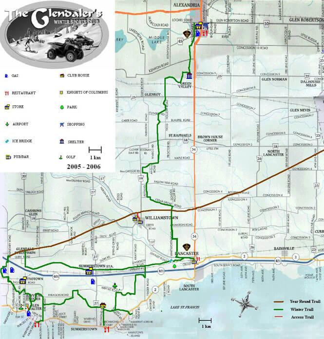 Glendalers Winter Sports Club ATV Trails Map