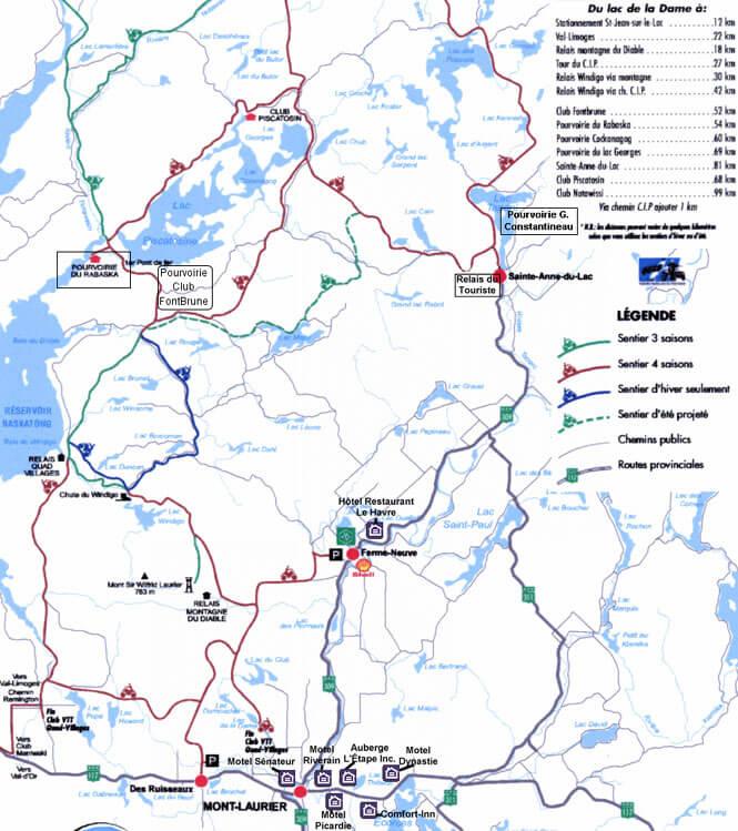 Club VTT Quad Villages Hautes-Laurentide ATV Trails Map