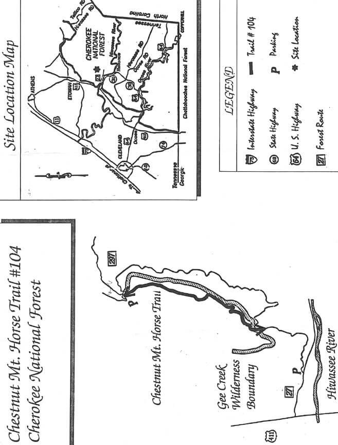 Chestnut Mountain Horse Trail Horseback Riding Map
