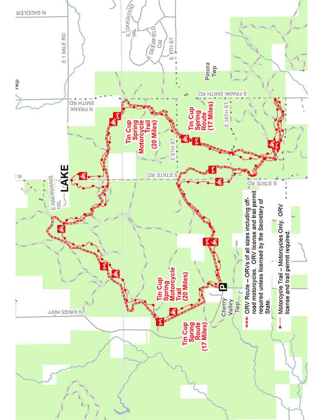 Tin Cump Springs Trail Dirt Biking Map