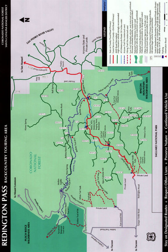 Redington Pass Backcountry Touring Area ATV Trails Map
