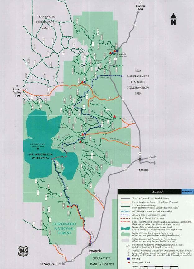 Santa Rita Backcountry Touring Area OHV Driving Map
