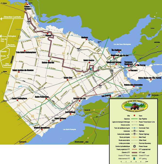 Club Quad Des Trois-Lacs ATV Trails Map