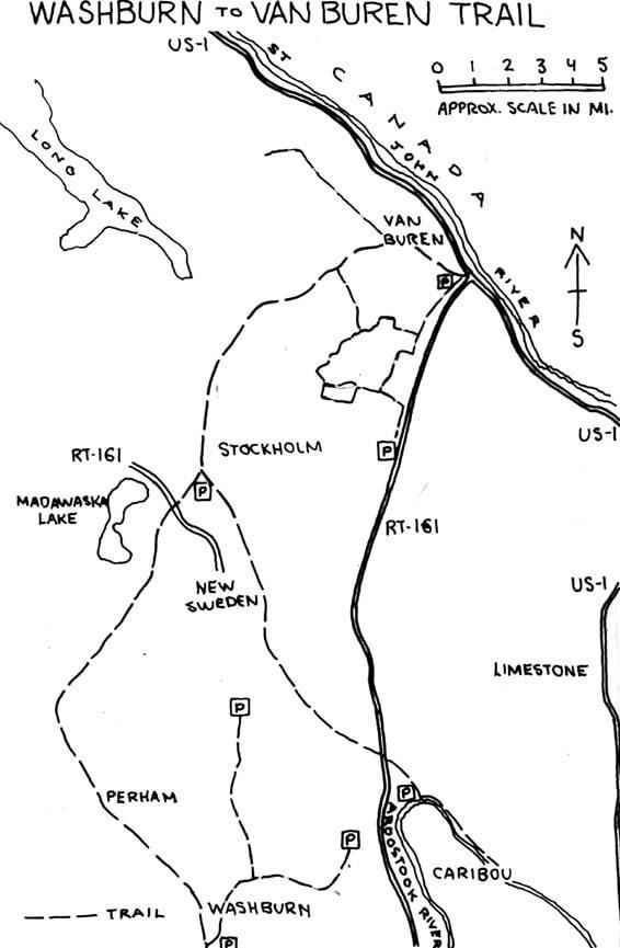 Washburn To Van Buren Trail ATV Trails Map