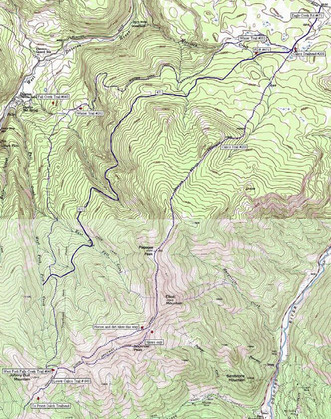 Upper Calico Trail Dirt Biking Map