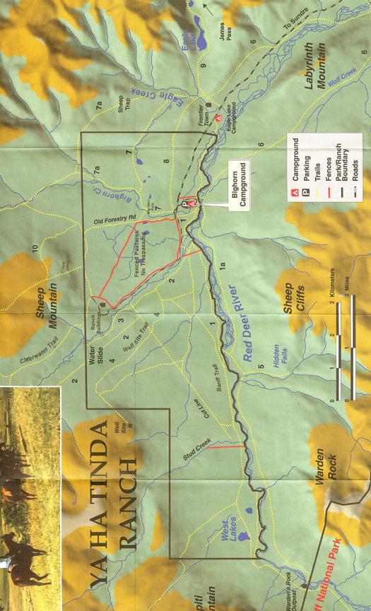 Ya Ha Tinda Ranch Horseback Riding Map
